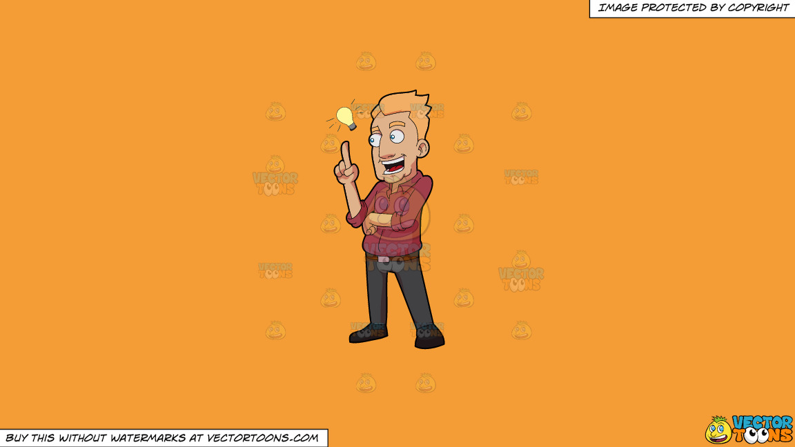 A Man Thinking Up A Brilliant Plan On A Solid Deep Saffron Gold F49d37 Background thumbnail