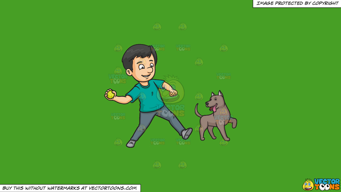 A Man Throwing A Ball To Play With His Dog On A Solid Kelly Green 47a025 Background thumbnail