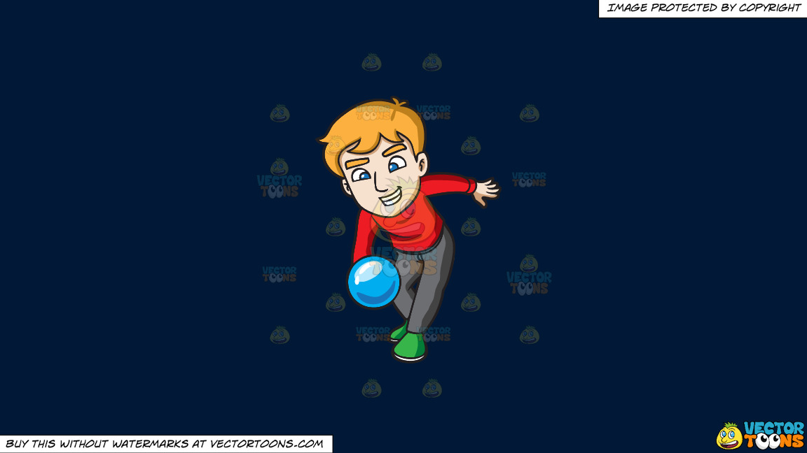 A Man Throwing A Blue Bowling Ball On A Solid Dark Blue 011936 Background thumbnail