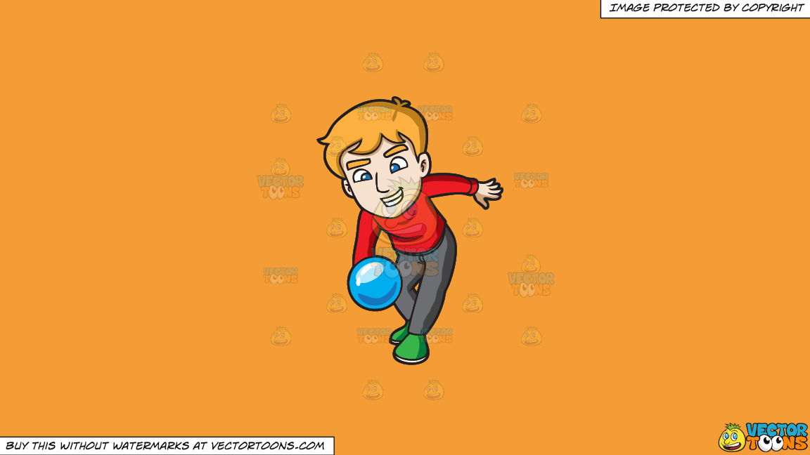 A Man Throwing A Blue Bowling Ball On A Solid Deep Saffron Gold F49d37 Background thumbnail