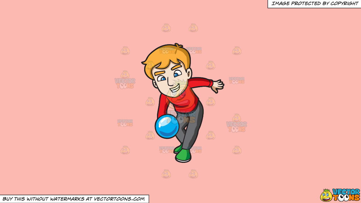 A Man Throwing A Blue Bowling Ball On A Solid Melon Fcb9b2 Background thumbnail