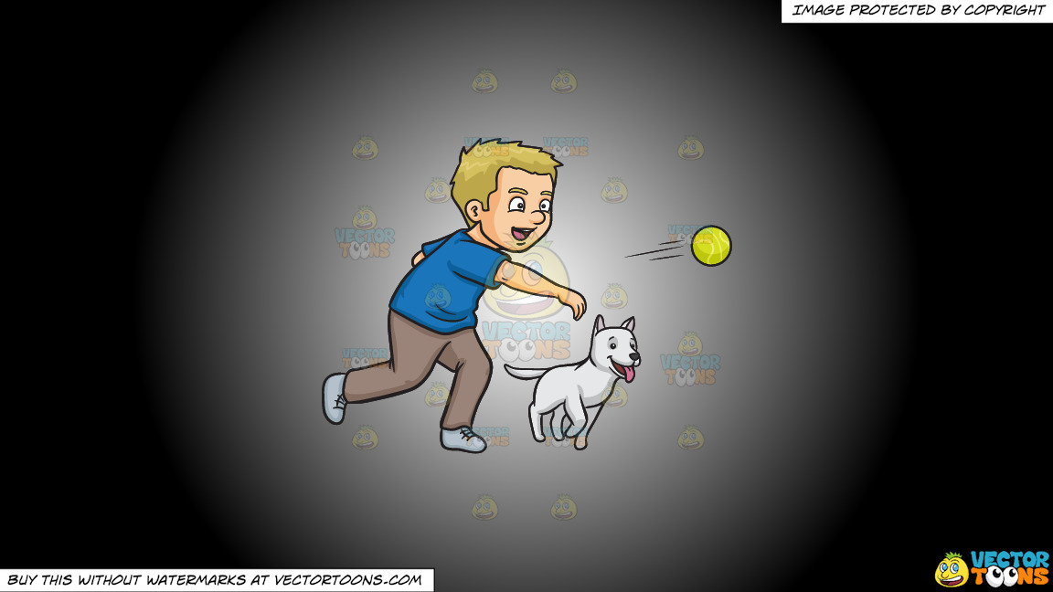 A Man Throwing A Tennis Ball To Play Fetch With His Dog On A White And Black Gradient Background thumbnail