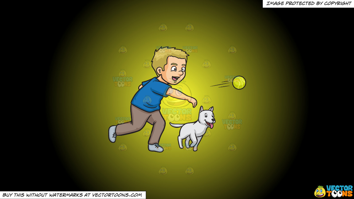A Man Throwing A Tennis Ball To Play Fetch With His Dog On A Yellow And Black Gradient Background thumbnail