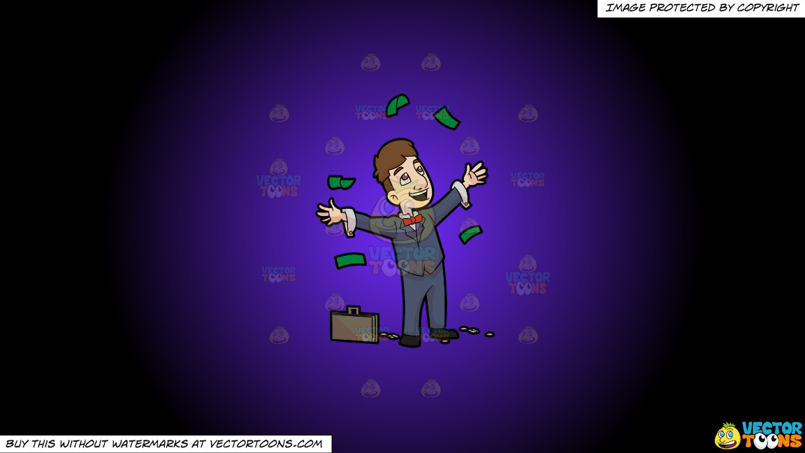 A Man Throwing Away Money In Happiness On A Purple And Black Gradient Background thumbnail