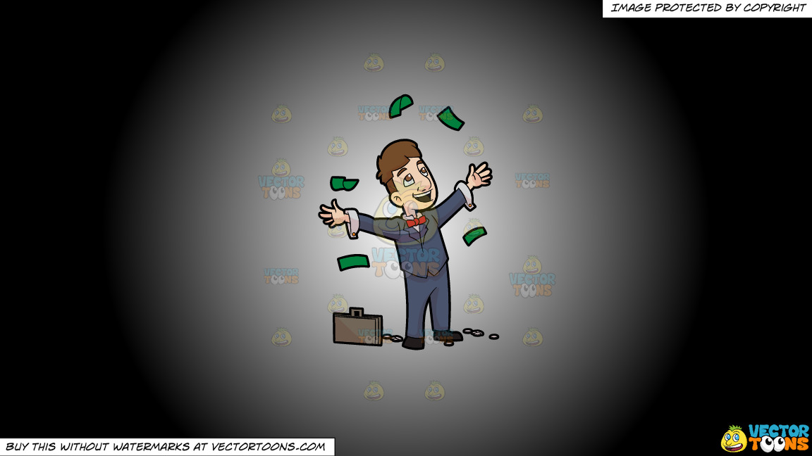 A Man Throwing Away Money In Happiness On A White And Black Gradient Background thumbnail