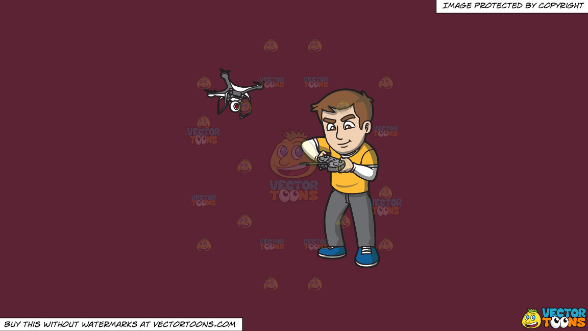 A Man Tinkering With The Remote Control Of His Flying Drone On A Solid Red Wine 5b2333 Background thumbnail