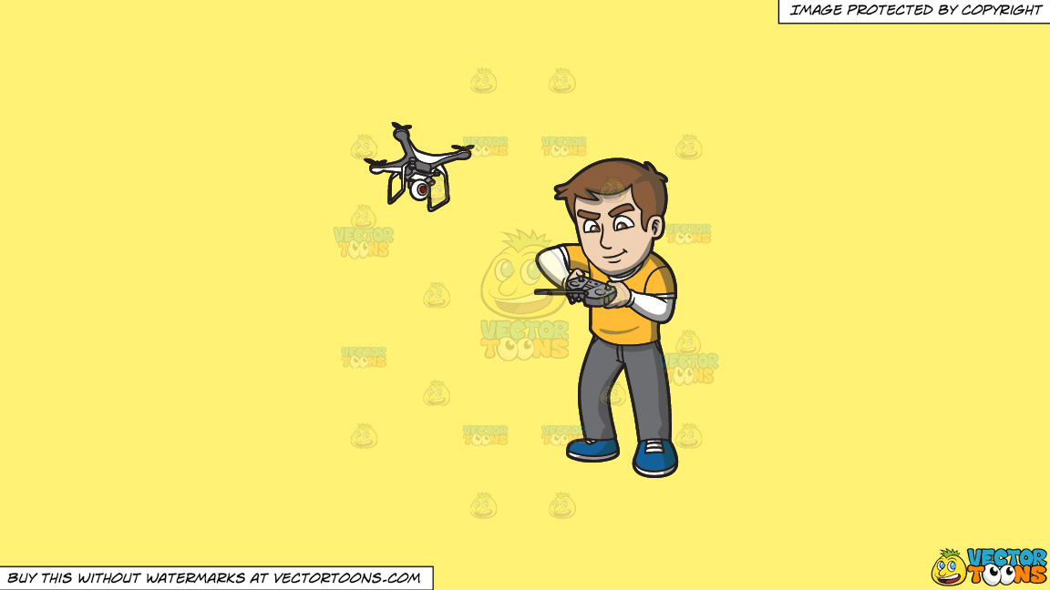A Man Tinkering With The Remote Control Of His Flying Drone On A Solid Sunny Yellow Fff275 Background thumbnail