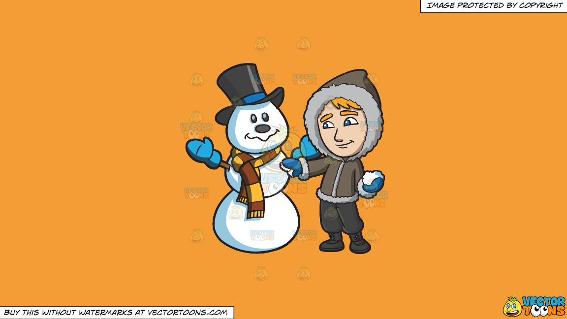 A Man Touching Up The Snowman He Made On A Solid Deep Saffron Gold F49d37 Background thumbnail