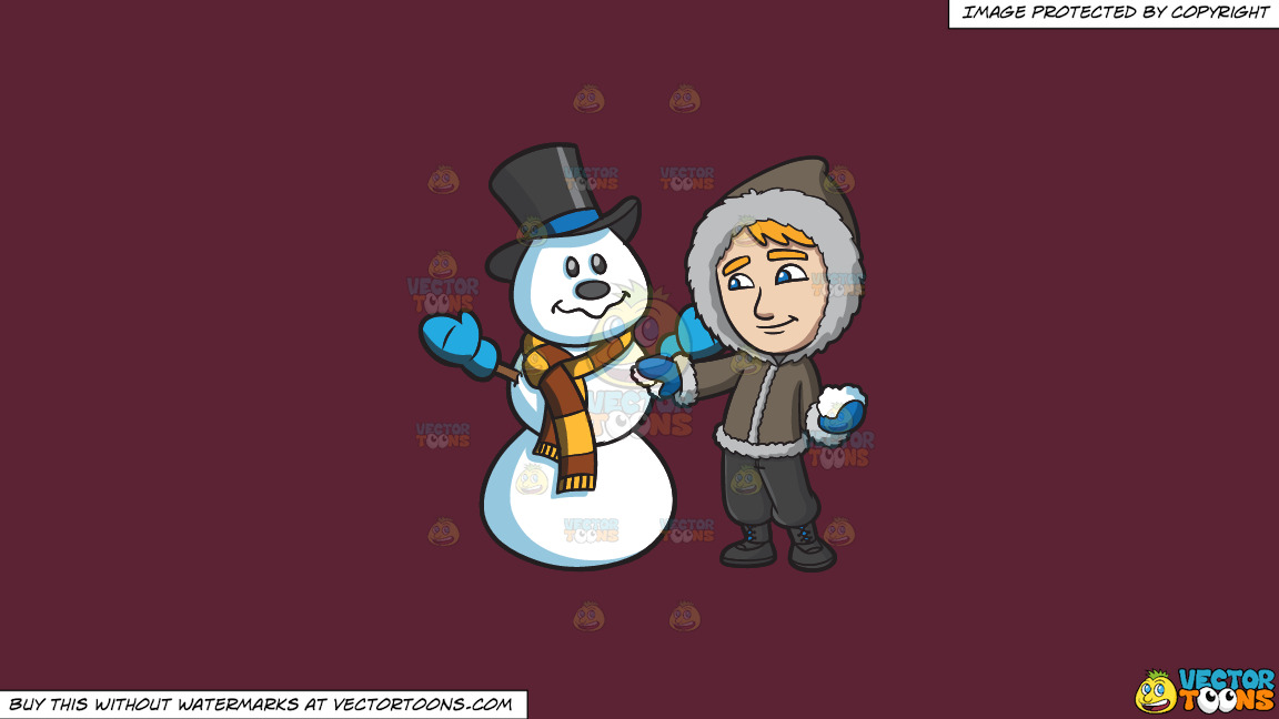 A Man Touching Up The Snowman He Made On A Solid Red Wine 5b2333 Background thumbnail