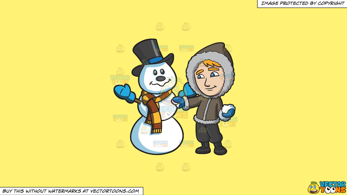 A Man Touching Up The Snowman He Made On A Solid Sunny Yellow Fff275 Background thumbnail
