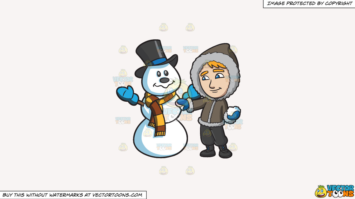 A Man Touching Up The Snowman He Made On A Solid White Smoke F7f4f3 Background thumbnail