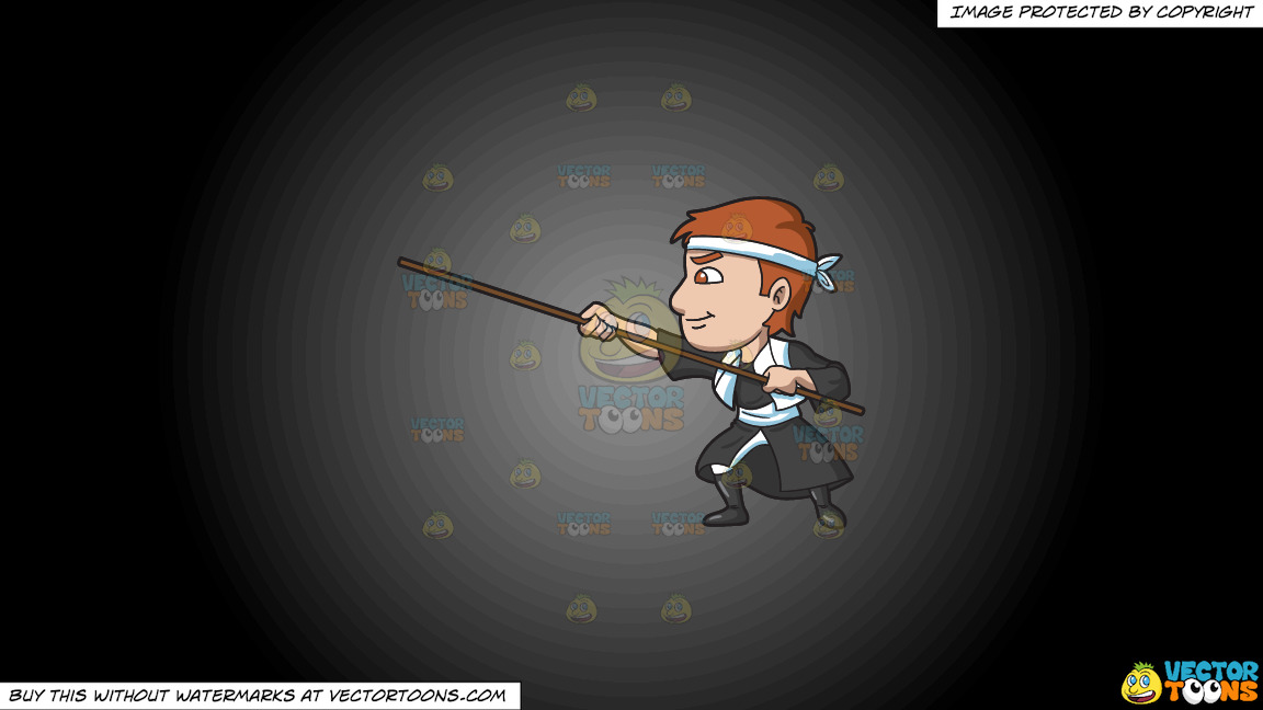 A Man Training With A Stick On A Grey And Black Gradient Background thumbnail