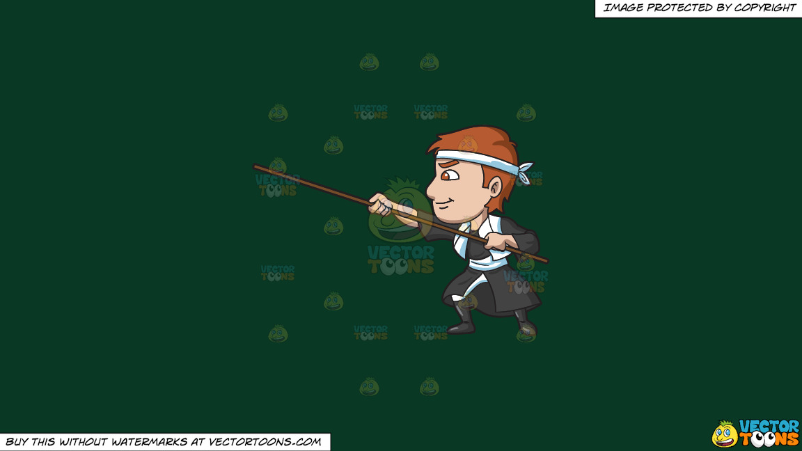 A Man Training With A Stick On A Solid Dark Green 093824 Background thumbnail