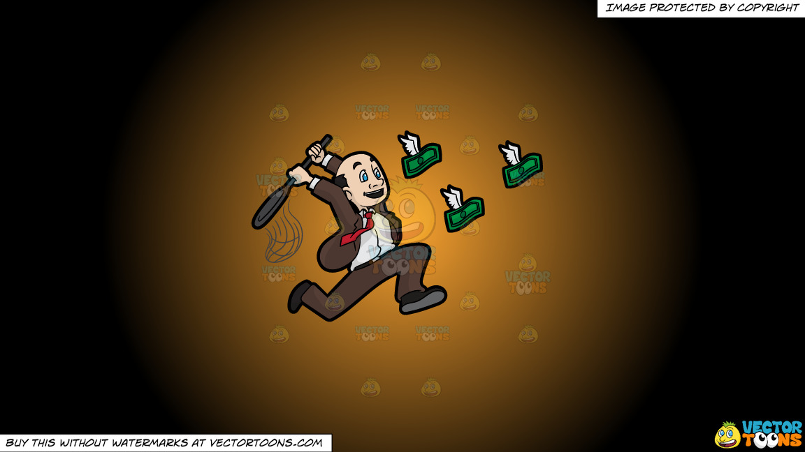A Man Trying To Catch Flying Money With A Net On A Orange And Black Gradient Background thumbnail