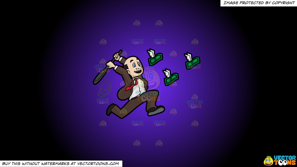 A Man Trying To Catch Flying Money With A Net On A Purple And Black Gradient Background thumbnail