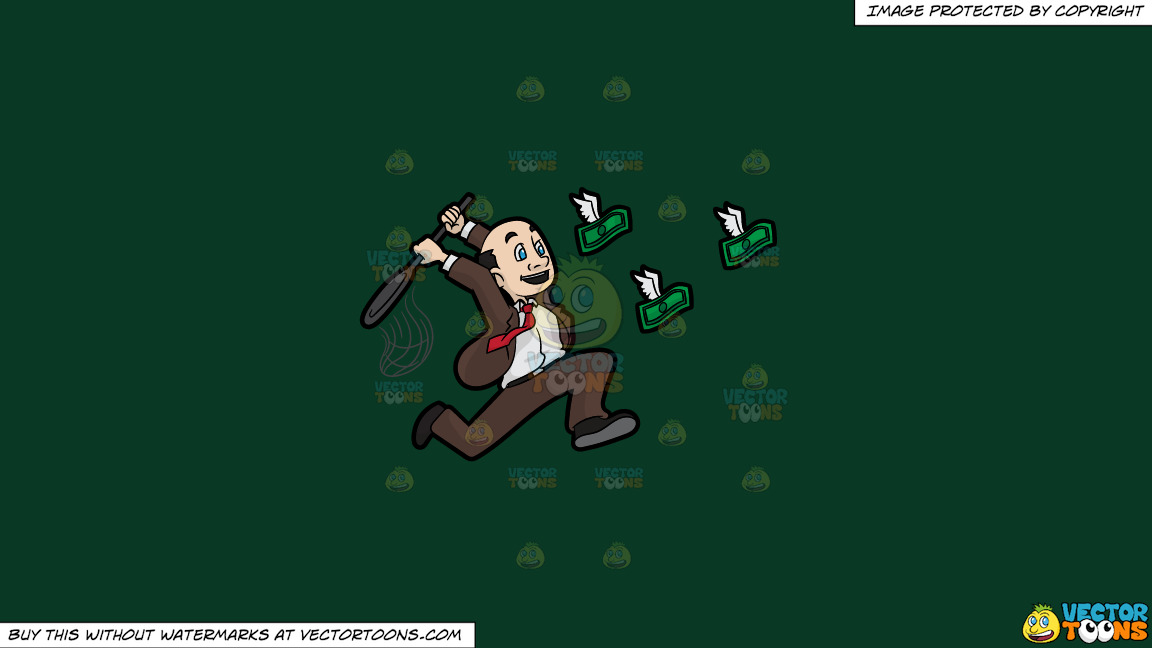 A Man Trying To Catch Flying Money With A Net On A Solid Dark Green 093824 Background thumbnail