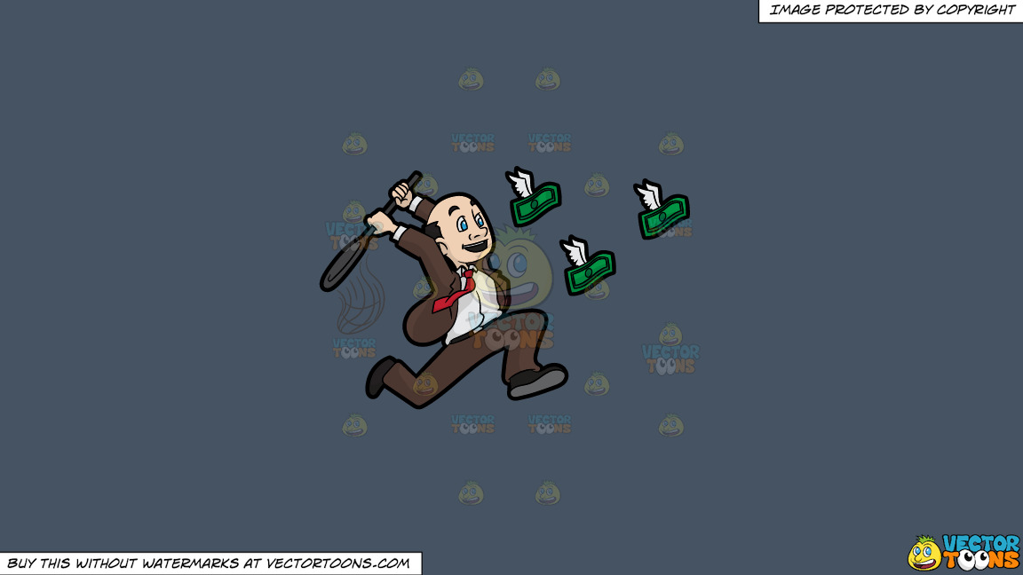 A Man Trying To Catch Flying Money With A Net On A Solid Metal Grey 465362 Background thumbnail