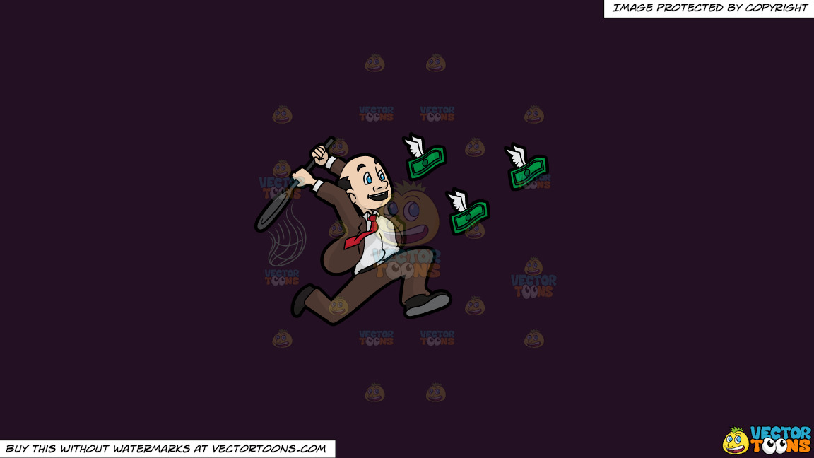 A Man Trying To Catch Flying Money With A Net On A Solid Purple Rasin 241023 Background thumbnail