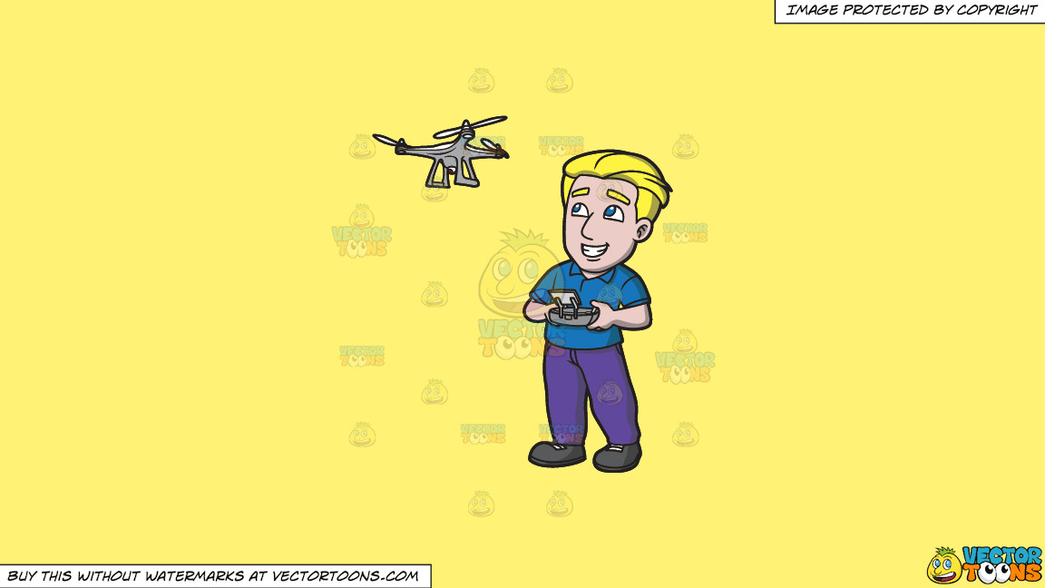 A Man Trying To Fly A Drone Via A Remote On A Solid Sunny Yellow Fff275 Background thumbnail