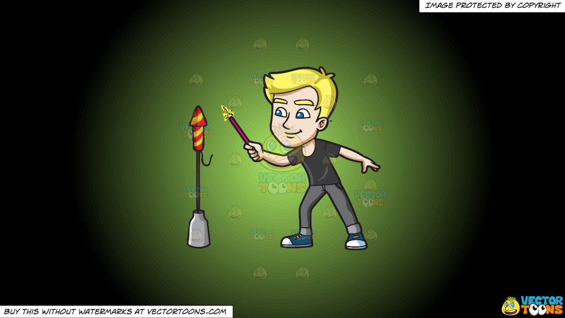 A Man Trying To Light A Skyrocket Firecracker Using A Sparkler On A Green And Black Gradient Background thumbnail