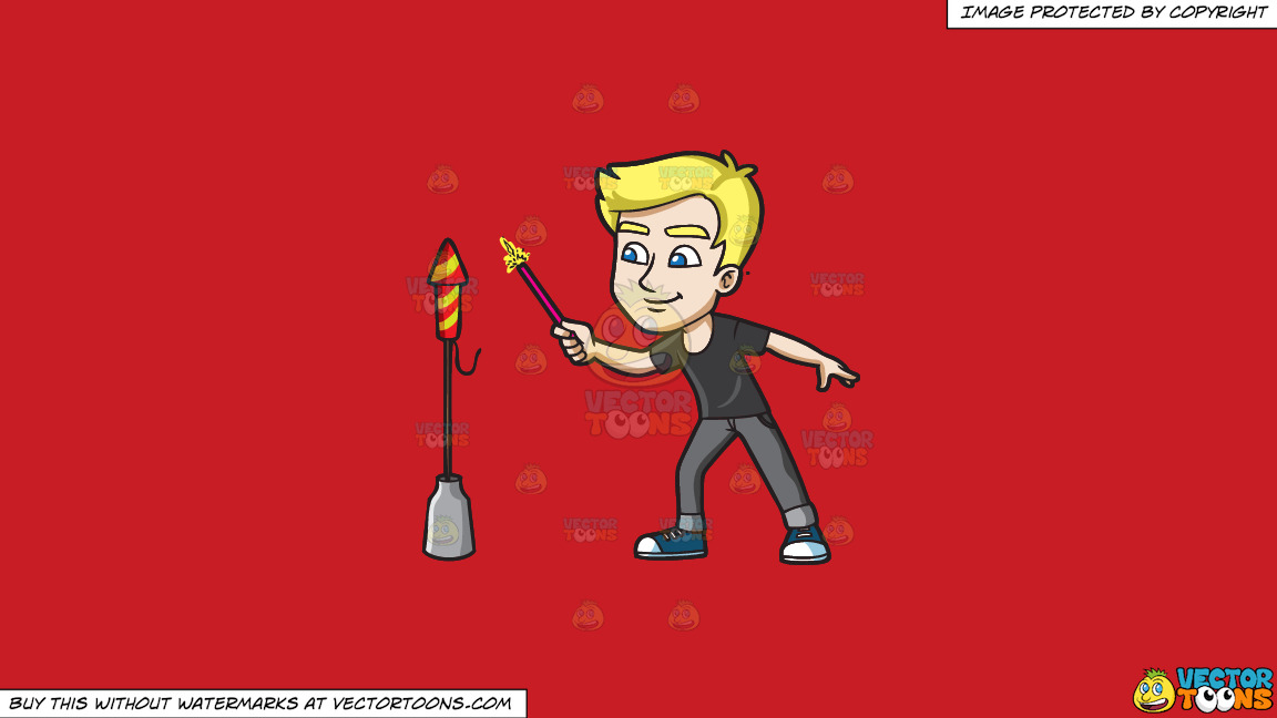 A Man Trying To Light A Skyrocket Firecracker Using A Sparkler On A Solid Fire Engine Red C81d25 Background thumbnail