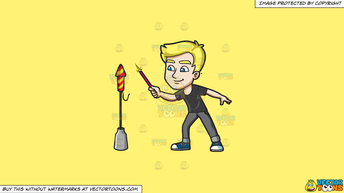 A Man Trying To Light A Skyrocket Firecracker Using A Sparkler On A Solid Sunny Yellow Fff275 Background thumbnail