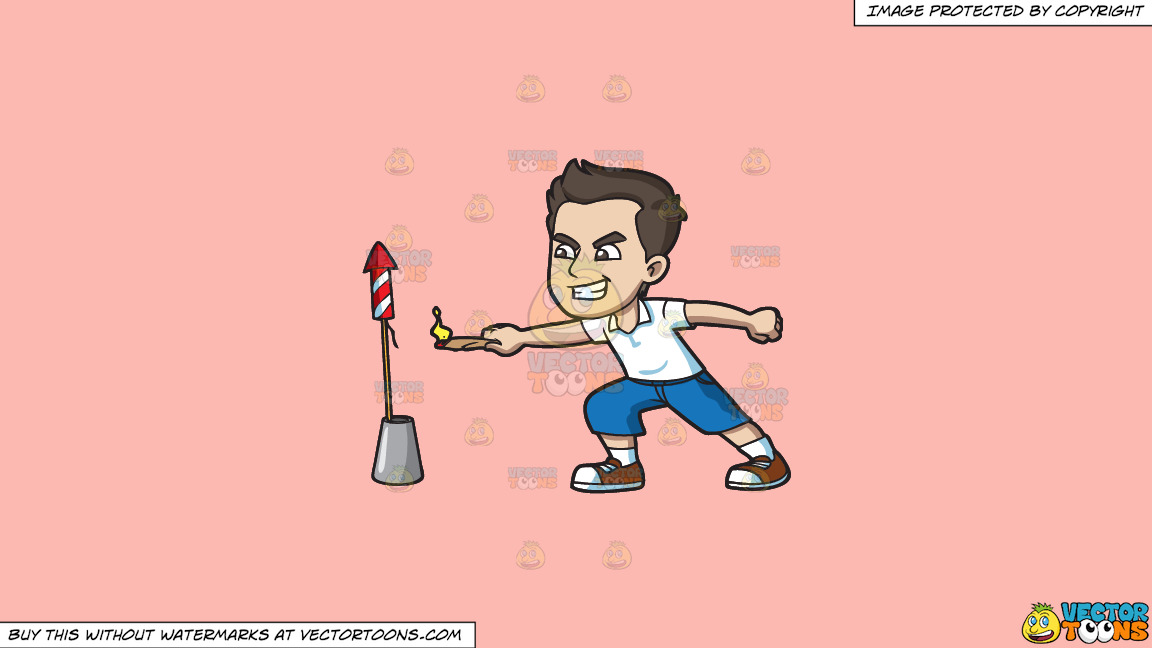 A Man Trying To Light A Skyrocket Firecracker With A Candle On A Solid Melon Fcb9b2 Background thumbnail