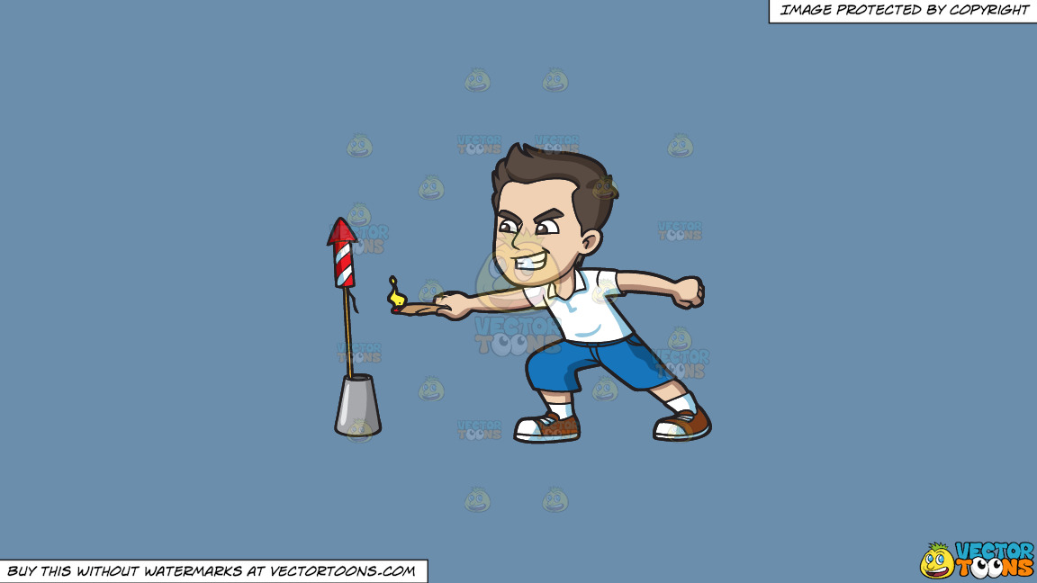 A Man Trying To Light A Skyrocket Firecracker With A Candle On A Solid Shadow Blue 6c8ead Background thumbnail