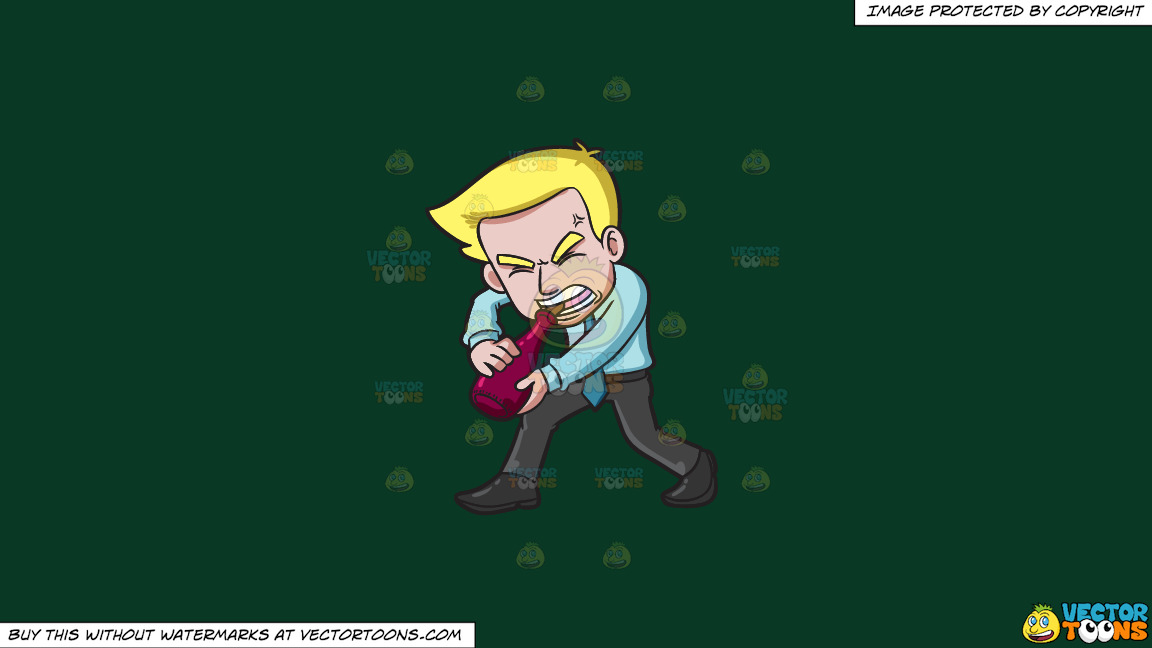 A Man Trying To Remove A Cork From A Bottle Of Wine With His Teeth On A Solid Dark Green 093824 Background thumbnail