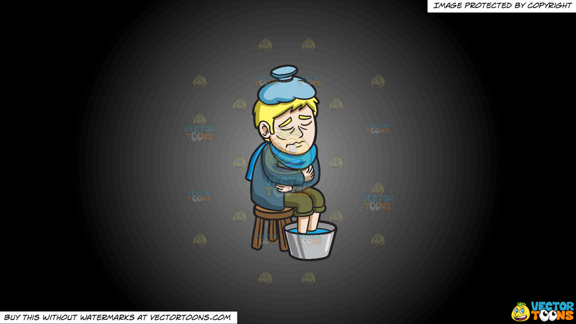 A Man Tryng To Regulate His Temperature On A Grey And Black Gradient Background thumbnail
