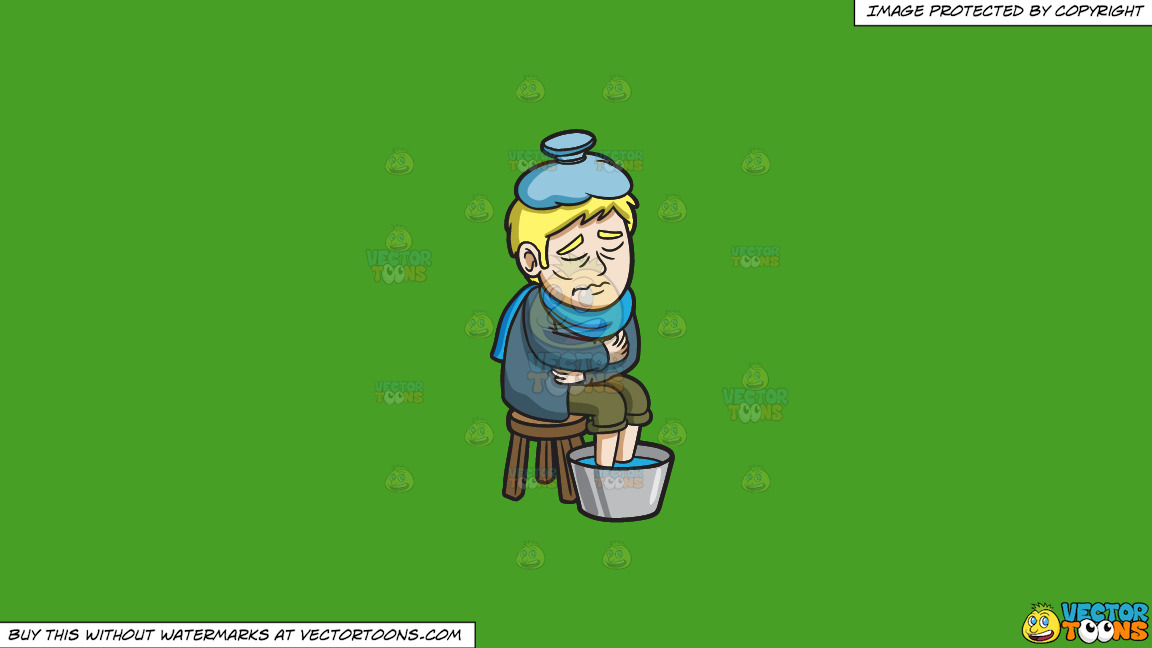 A Man Tryng To Regulate His Temperature On A Solid Kelly Green 47a025 Background thumbnail