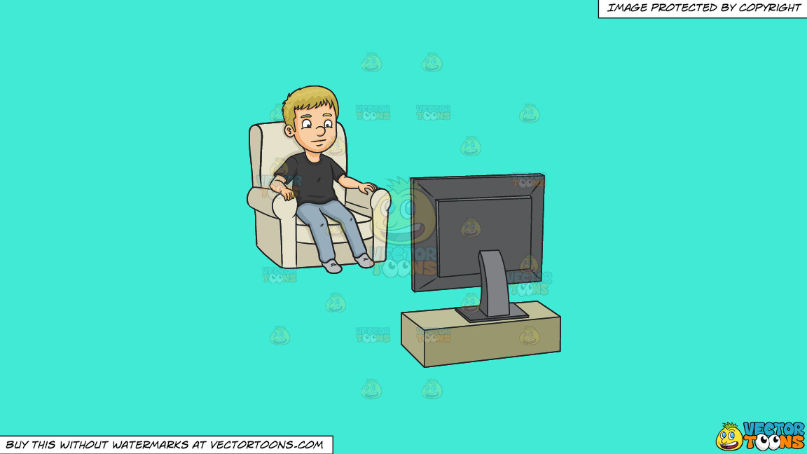 A Man Watching Tv On A Solid Turquiose 41ead4 Background thumbnail