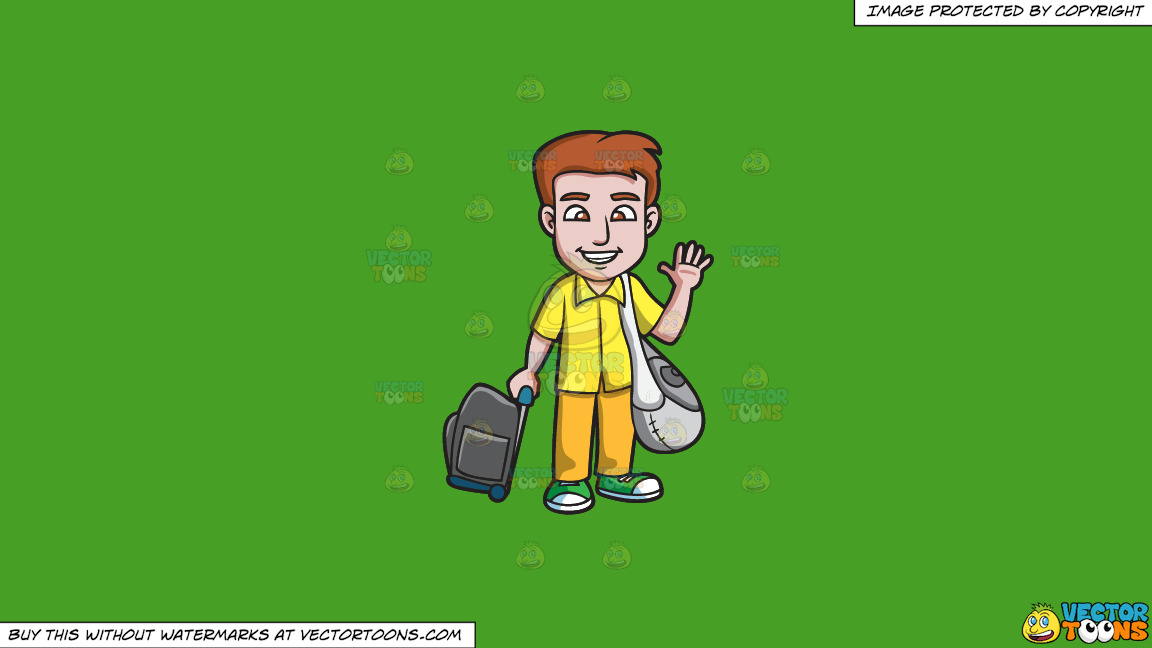 A Man Waving Goodbye Before He Leaves On A Solid Kelly Green 47a025 Background thumbnail