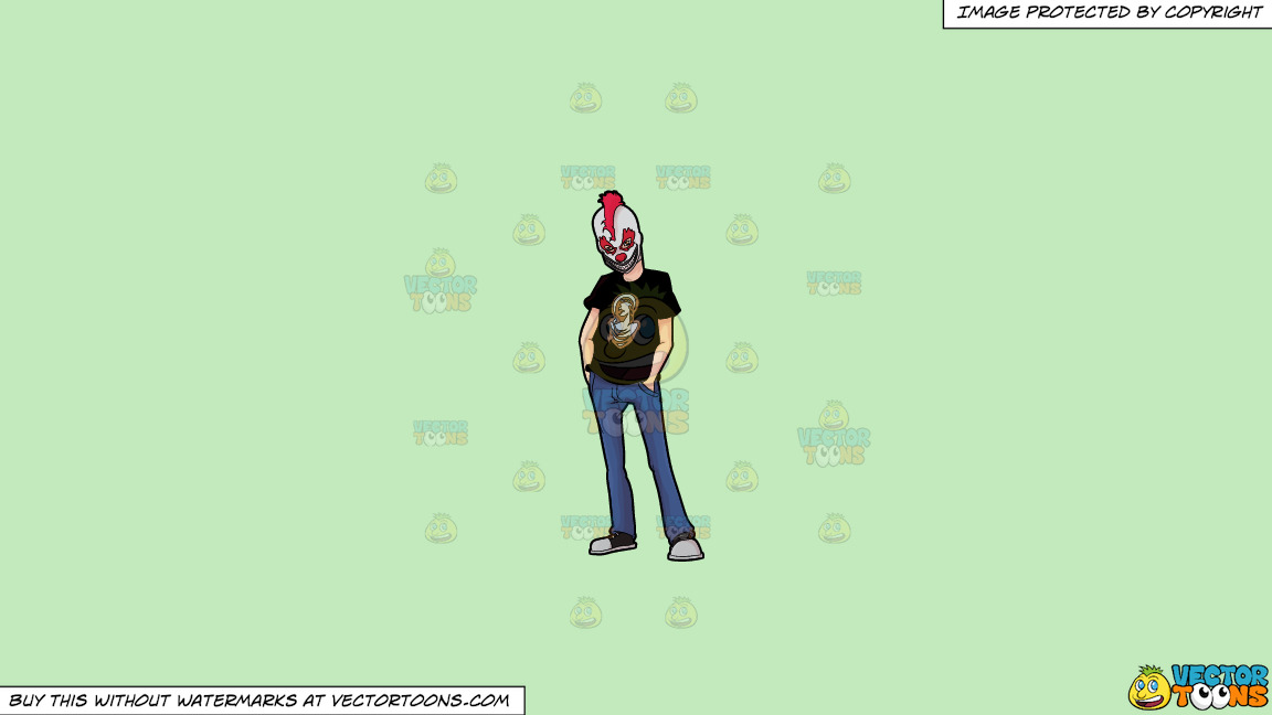 A Man Wearing A Creepy Clown Mask On A Solid Tea Green C2eabd Background thumbnail