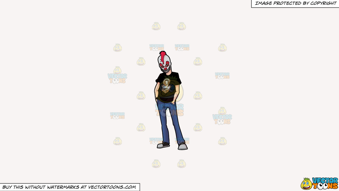 A Man Wearing A Creepy Clown Mask On A Solid White Smoke F7f4f3 Background thumbnail