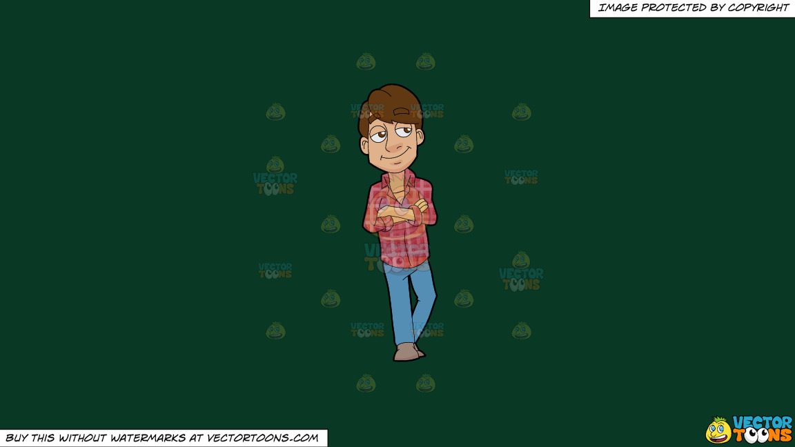 A Man Wearing A Plaid Shirt On A Solid Dark Green 093824 Background thumbnail