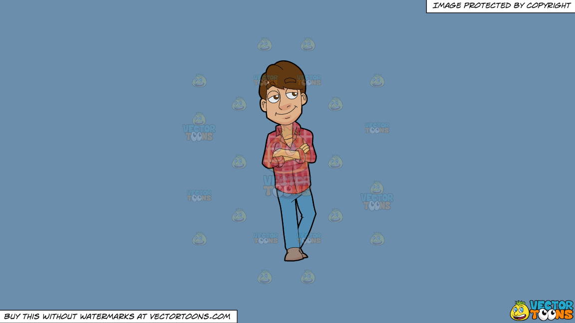A Man Wearing A Plaid Shirt On A Solid Shadow Blue 6c8ead Background thumbnail