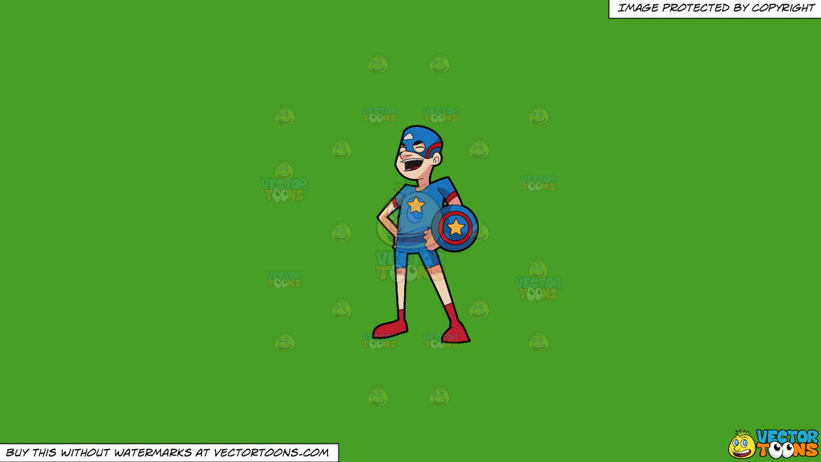 A Man Wearing Super Hero Costume On A Solid Kelly Green 47a025 Background thumbnail