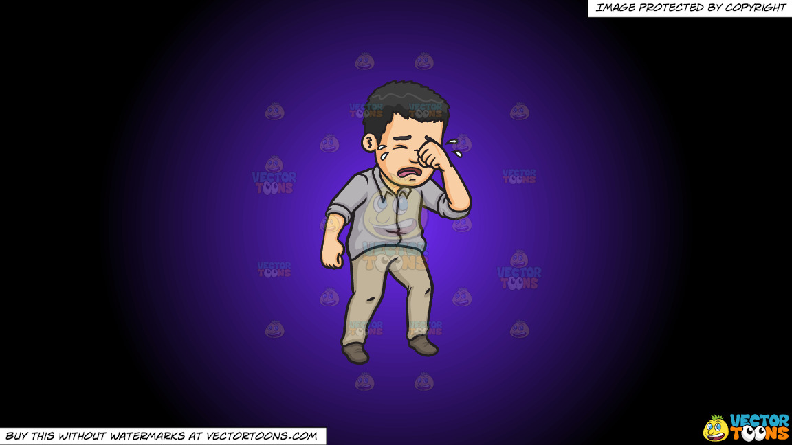 A Man Wiping Away His Tears On A Purple And Black Gradient Background thumbnail