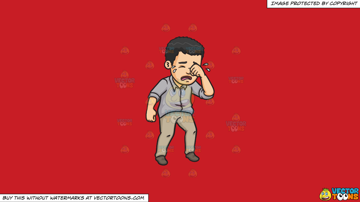 A Man Wiping Away His Tears On A Solid Fire Engine Red C81d25 Background thumbnail