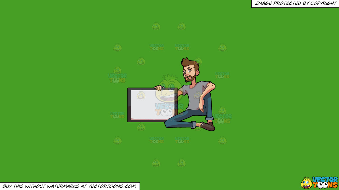 A Man With A Beard Holding A Board On A Solid Kelly Green 47a025 Background thumbnail