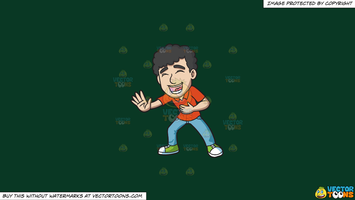 A Man With Curly Hair Laughing Hysterically On A Solid Dark Green 093824 Background thumbnail