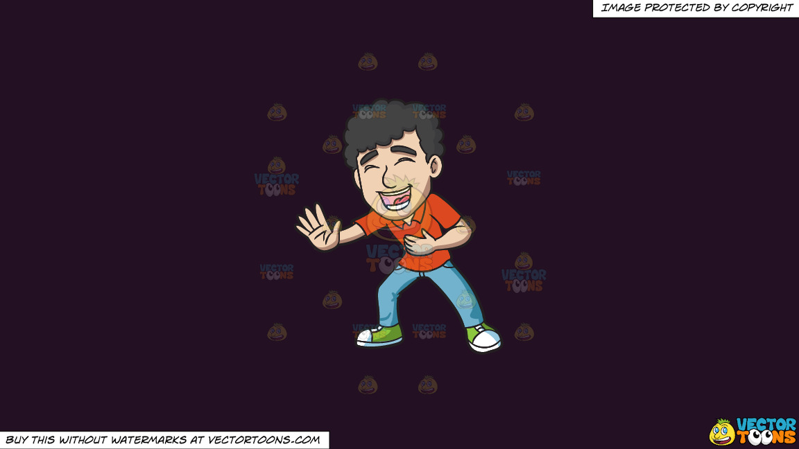 A Man With Curly Hair Laughing Hysterically On A Solid Purple Rasin 241023 Background thumbnail