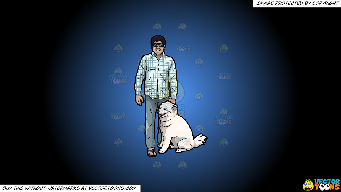 A Man With His Dog On A Blue And Black Gradient Background thumbnail