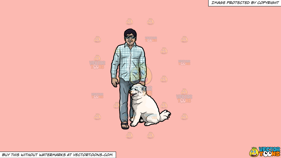 A Man With His Dog On A Solid Melon Fcb9b2 Background thumbnail