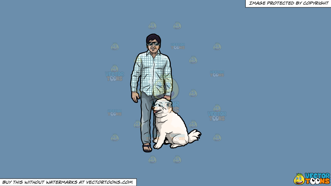 A Man With His Dog On A Solid Shadow Blue 6c8ead Background thumbnail
