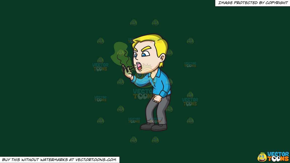 A Man With Horrendous Smelling Breath On A Solid Dark Green 093824 Background thumbnail