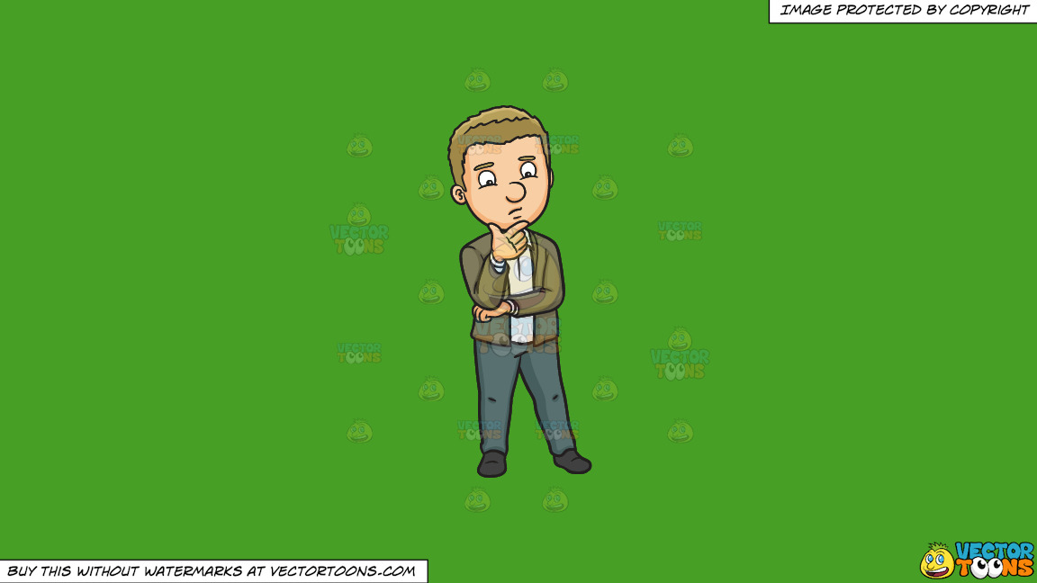 A Man Wondering About Something On A Solid Kelly Green 47a025 Background thumbnail