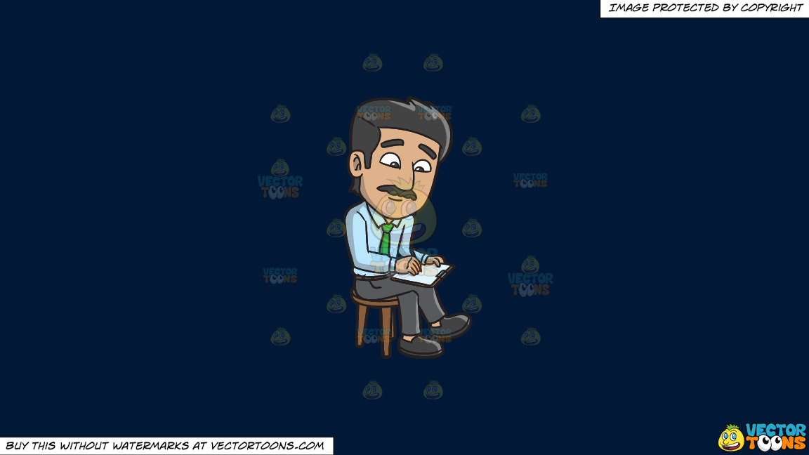 A Man Writing Down Some Important Notes On A Solid Dark Blue 011936 Background thumbnail