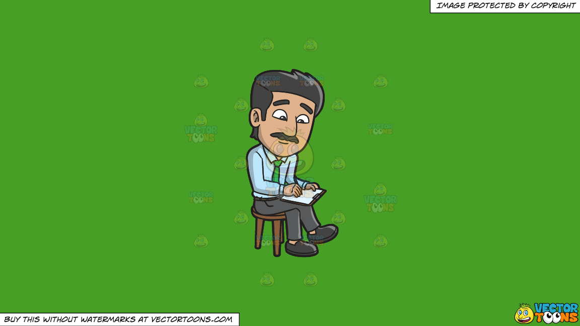 A Man Writing Down Some Important Notes On A Solid Kelly Green 47a025 Background thumbnail